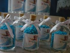 Candy favors at a Frozen birthday party! See more party planning ideas at CatchMyParty.com!