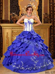 Sweetheart Ruffles And Embroidery Quinceanera Dress in Royal Blue and White