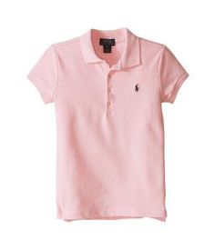 Polo Ralph Lauren Kids Short Sleeve Mesh Polo Shirt (Little Kids) (Carmel Pink) Girl's Short Sleeve Knit