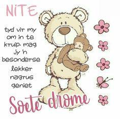 Goeie Nag, Afrikaans Quotes, Good Night Quotes, Sleep Tight, Qoutes, Bible, Teddy Bear, Night Night, Friendship