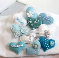 Tiny Felt Love Token Hearts   Baby Blues and by QuiltyCritters