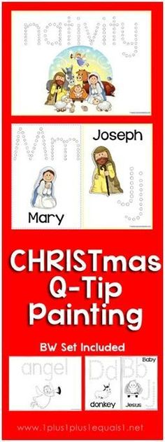 Christmas Nativity Q-Tip Painting Printables {free} from @{1plus1plus1} Carisa