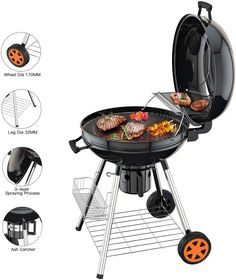 , Kettle, Grate, Orange LotusGrill G-OR-34 Barbacoa s Grill, Charcoal, 5 person