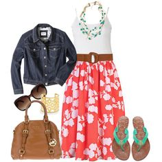 """""""Floral Skirt - by alexawebb on Polyvore"""