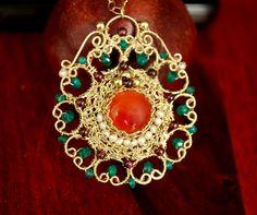 Vintage Style Crochet Goldfilled 14K Pendant Inlaid with precious stones, Carnelian, Emerald, Pearls, Garnet