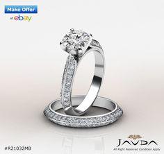 Fine Round Diamond Bridal Set Pave Engagement Ring GIA G VS2 14k White Gold 2 ct