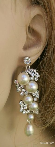 pearls.quenalbertini: Pearl & Diamonds Ear Pendant | Beauty bling jewelry fashion
