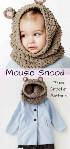 Adorable cozy mousie snood!!! Make this cute mousie snood yourself. Free crochet Pattern. #ad #crochet #pattern