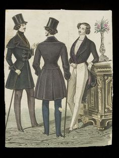 Hand-coloured fashion plate showing men's dress. Three men's outfits for day wear.  France - 1840's V collections