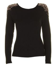 Take a look at this Black & Gold Bead Long-Sleeve Top on zulily today!