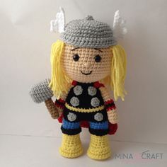 THOR Inspired by marvel comics ♥ SKILLS YOU NEED: Basic intermediate amigurumi skills How to change yarn color Basic sewing and embroidery skills How to join parts MATERIALES: Hook N° Source by d… Crochet Doll Pattern, Crochet Art, Crochet Patterns Amigurumi, Crochet Dolls, Batman Amigurumi, Amigurumi Doll, Sewing Basics, Basic Sewing, Sewing Hacks