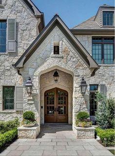 Exterior, stone exterior houses, stone houses, building a house, french ext Stone Exterior Houses, Exterior Paint Colors For House, Stone Houses, Paint Colors For Home, Exterior Colors, Exterior Homes, Exterior Shutters, Grey Exterior, Building Exterior