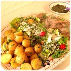 Chimichurri new potatoes & salad #glutenfree #healthy