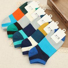 2017 Summer New Style Men's Casual Striped Patchwork Slipper Short Socks 1 Pair Wholesale Wz180 #Affiliate
