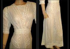 1910's Antique Vintage Crisp-White Cotton Linen French-Crocheted Lace Edwardian Victorian Tea-Length  Gown Art-Nouveau Lawn Dress. $275.00, via Etsy.