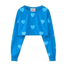 Blue Heart Monogram Long Sleeves Cropped Sweater Sweatshirt (€24) ❤ liked on Polyvore featuring tops, hoodies, sweatshirts, heart crop top, sweatshirts hoodies, monogrammed sweatshirts, cropped sweatshirt and long sleeve sweatshirt