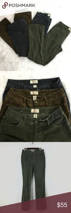 "Lot of 3 pairs St. John's Bay Corduroy pants 8 B12 Lot of 3 St. John's Bay Straight Leg Corduroy Secretly Slender Bootcut Pants 8   This lot of 3 pairs of St. John's Bay Bootcut Corduroy Pants includes Gray, Green and Brown.   Measurements: Waist:  15""  Flat Across  Rise:  9.5""  Long Inseam:  32""  Long  In good preowned condition with no known flaws and light overall wear. St. John's Bay Pants Boot Cut & Flare"