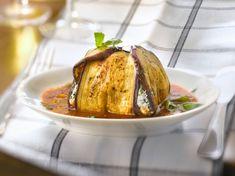 Paupiette d'aubergine à la ricotta et au basilic, coulis de tomate
