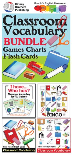 This bundle offers a treasure trove of classroom vocabulary activities including Bingo, Tic-Tac-Toe, and I Have/Who Has game sets.  Flash Cards and Charts give you tools for vocabulary practice and interactive notebooks!