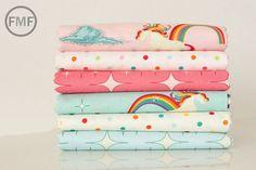 Half Yard Bundle Unicorns and Rainbows Pink and Aqua, 6 Pieces, Doohikey Designs, Riley Blake Designs, 100% Cotton Fabric