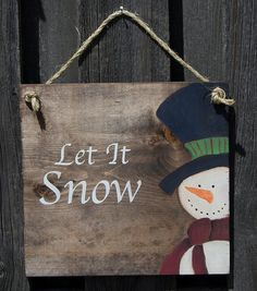 Christmas Wood Sign Decor Let it snow Snowman by InspireGiftCo