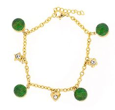 Ben and Jonah Stainless Steel Gold Plated Bracelet with Green Balls and Charms with Extension -- Check out the image by visiting the link. (This is an affiliate link) #BallWatchforMen
