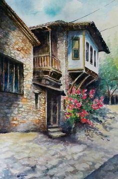 why don't you knock on my door?tap on my window pane? Lotus Kunst, Lotus Art, Watercolor Landscape, Watercolor Paintings, Gauguin, Mary Cassatt, Turkish Art, House Drawing, Urban Sketching