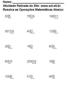 AMAR E EDUCAR: ATIVIDADES DIVISÃO - MULTIPLICAÇÃO Numeracy, Math Worksheets, Math Equations, School, Study, Gabriel, Professor, Iron, Crochet