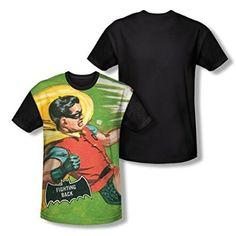 Batman Classic TV Fighting Back All Over Print Black Back T-Shirt