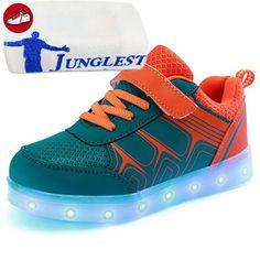 (Present:kleines Handtuch)Schwarz EU 40, Farbe 7 USB JUNGLEST® Sportschuhe Unisex Sneakers LED-Licht Fluo