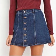 denim/jean skirt NWOT, size XS but runs big, would fit a small-medium best Forever 21 Skirts Dressy Outfits, Fall Outfits, Cute Outfits, Brandy Melville Skirt, Denim Button Down, Complete Outfits, Denim Fashion, Mini Skirts, Jean Skirts