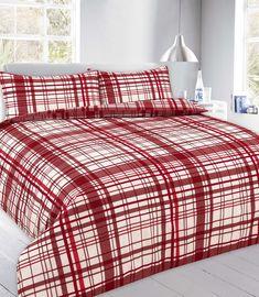 Flynn Checked Duvet Quilt Cover Bedding Set | Red — Linens Range