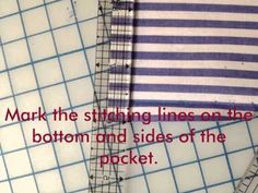 Pocket_Tutorial and other sewing tricks Sewing Hacks, Sewing Tutorials, Sewing Projects, Sewing Tips, Sewing Ideas, My Sewing Room, Sewing Rooms, Sewing Equipment, Sewing Techniques