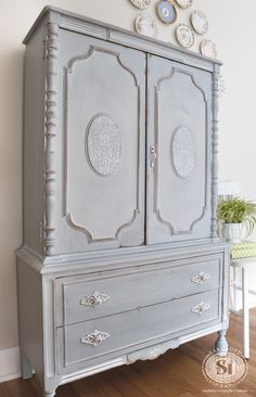 Stunning! I'm in love with this French Country Armoire painted w Miss Mustard Seed's Shutter Gray. | Salvaged Inspirations