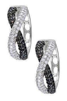 Sterling Silver Crisscross CZ Hoop Earrings