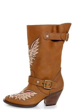 Mojo Moxy Liberty Tan Laser Cut Cowboy Boots at LuLus.com! #lulusrocktheroad
