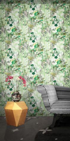 A New Ornate Wallpaper by Beth Hudson Modern Floral Wallpaper, Floral Wallpapers, Contemporary Wallpaper, Flower Wallpaper, Leaf Drawing, Laser Cut Wood, Elle Decor, Designer Wallpaper, Floral Design