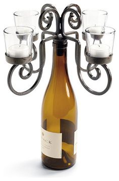 Four-votive Wine Bottle Candelabra traditional-candles-and-candle-holders