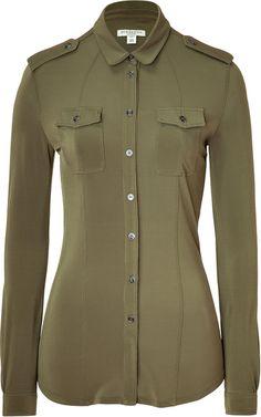 burberry Khaki Green Jersey Top - Lyst