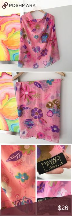 "VINTAGE Mod Pop Floral Large Scarf / Wrap Early 1990s. From UK brand, Tie Rack. Huge sheer scarf-wrap-sarong in a bubblegum pink with pretty Mod Floral design. Measures approx 62"" x 47"" Vintage Accessories Scarves & Wraps"
