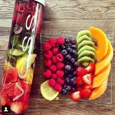 fruit water melon lemon raspberry blueberries kiwi figs strawberries papaya fruit bowl healthy Breakfast