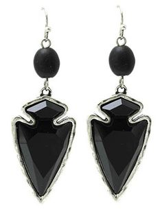 Black Spearhead Stone Earrings from Helen's Jewels