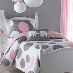 toddler comforter teal polkadot | girl children kids teen duvet bedding pink grey white polka dot