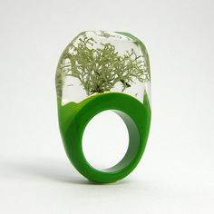Silver Moss and green resin Ring from sisicata on Etsy