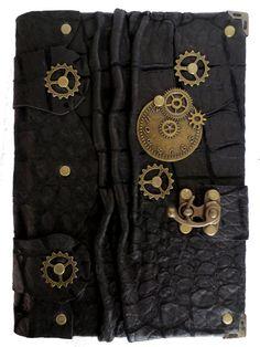 Handmade large steampunk vintage antique victorian clock gears time travel croc pattern luxury black leather journal notebook sketchbook