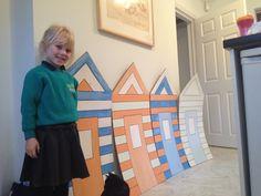 Homemade cardboard beach huts