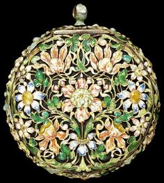 watch of pierced and enamelled gilt brass, signed 'Claude Pascal A La Haye'. The Hague, Netherlands, circa 1650-1660