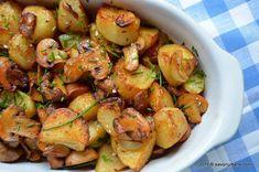 Cartofi noi la cuptor cu ciuperci si usturoi | Savori Urbane Romanian Food, Vegetable Recipes, Potato Salad, Shrimp, Easy Meals, Potatoes, Cooking Recipes, Vegetables, Ethnic Recipes