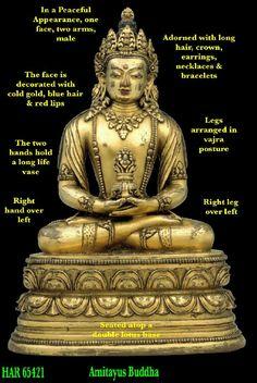 Amitabha/Amitayus Buddha - Annotated Image Amitabha Buddha, Deities, Blue Hair, Calligraphy, Statue, Long Hair Styles, Image, Mandalas, Buddhism