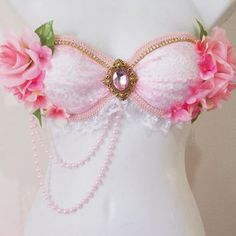 Pink Garden Fairy Rave Bra Pink Flowers Pink Trim by RevoltCouture Rave Costumes, Burlesque Costumes, Belly Dance Costumes, Fairy Costumes, Bedazzled Bra, Bling Bra, Rhinestone Bra, Festival Outfits, Festival Fashion